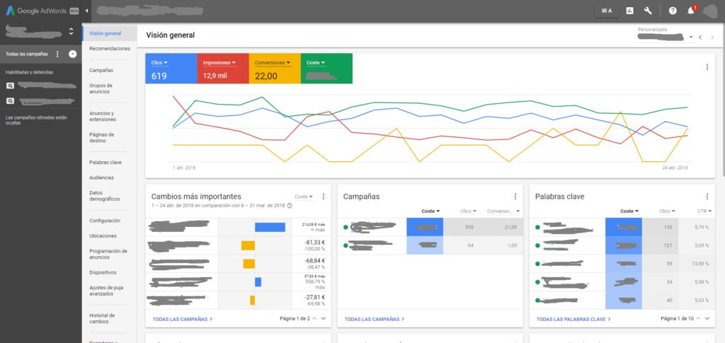 Visión general nueva interfaz Google Adwords